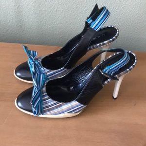 Casadei plaid bow heels, cozy soles